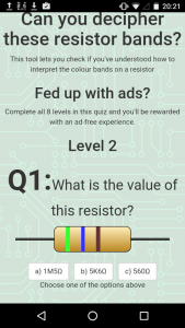 Free resistor values app with quiz
