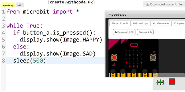 Write, run, debug and share python code for a BBC microbit