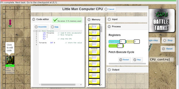Learn low level programming as you use a Little Man Computer CPU to control a tank