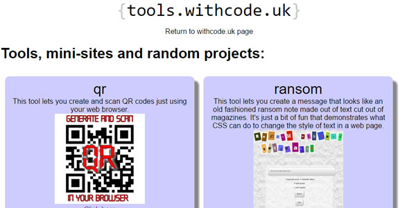 Tools, mini-sites and random projects