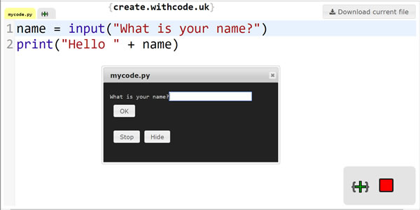 Write, run, debug and share python code with create.withcode.uk