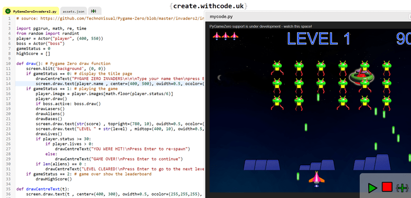 Create games with python: Space Invaders with PyGameZero